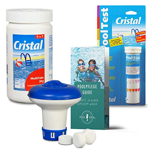 POOL Total Cristal Set MultiTabs Chlor 5 in 1 (20 g), Chlordosierer, Teststreifen Pflegefibel