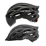 Cairbull Cycling Helmet Road Bike Bicycle Helmet with Goggle/Visor/Lamp Three uses 54-61 cm Adjustable (Carbon, (54-61) Adjustable)