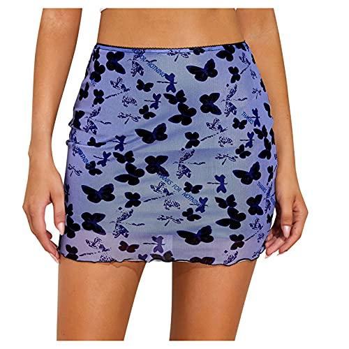 DRAGONHOO Women's School Uniform Mini Skirts Women Fashion Sex Print High Waist Slim Buttock Wrapping Skirt Clothes Night Out Skirt Purple