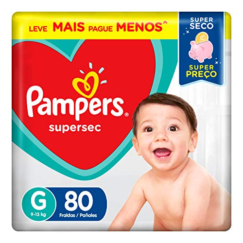 Fraldas Pampers Supersec G 80 Unidades, Pampers, G