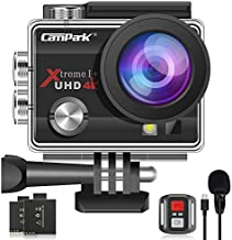 ?2020 Upgrade?Campark 4K 20MP Action Camera EIS External Microphone Remote Control WiFi Waterproof Camera Webcam with 170° Wide Angle and 2 Batteries
