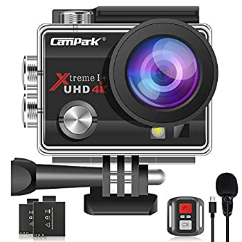 【Upgrade】 Campark 4K 20MP Action Camera EIS External Microphone Remote Control WiFi Waterproof Camera Webcam with 170° Wide Angle and 2 Batteries
