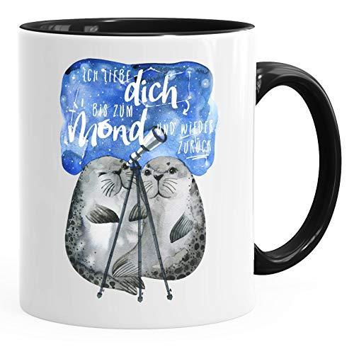 MoonWorks® Kaffee-Tasse Ich liebe dich bis zum Mond und wieder zurück Liebe Spruch Geschenk Seehunde Robben Sterne schwarz unisize