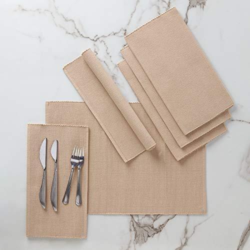 Encasa Homes Esstischsets (6er-Set) aus fein Gerippter Baumwolle - Perfekte Größe 48x33 cm, Elegante Moderne Farben & Designs, Verwendung zu Hause, in Cafés, Restaurants - solide Beige