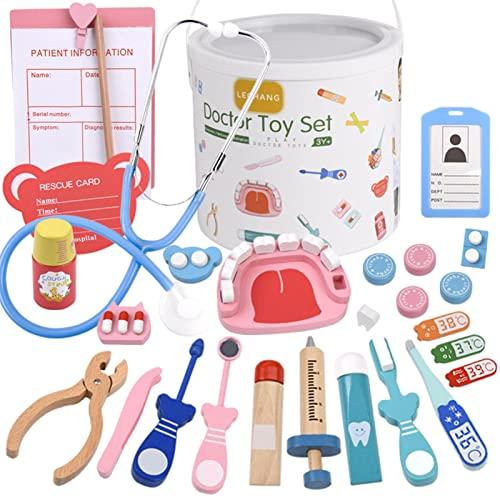 BOENXUA Kit médico para niños, juego de juguete médico de madera para 2 3 4 5 juguetes de 6 años para niñas regalos 32 piezas juguetes educativos