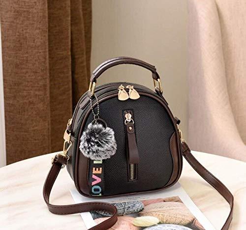 Mdsfe Bolso de Hombro de Mujer de Color sólido de Moda Bolso de Hombro portátil Bolso de Mujer Elegante de Cuero de PU con Bola de Pelo Gris - Negro, 20X9X18cm