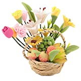 Zerodis 1:12 Puppenhaus Miniatur Blume Obstkorb Simulation Mini Handgefertigte Körbe Puppenhäuser...