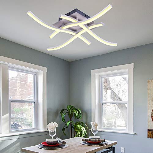 ALLOMN Plafoniera a LED, Lampada Lampadario Plafoniera Moderna Design Curvo con 4 Pezzi di Luce...