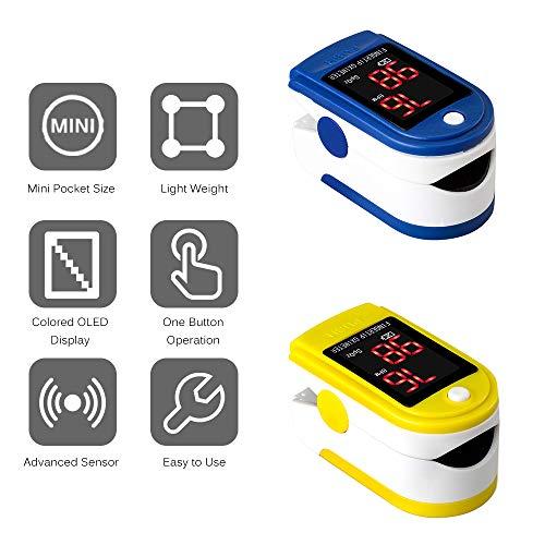 Vingertop Pulse Oximeter,Pulsoxymeter Vingerpuls Bloedzuurstof SpO2-monitor LED-oximeter SpO2 O2-monitor Mini-puls- en hartslagmeetmeter Bloedzuurstofmeter 8s Snel aflezen