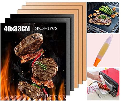 Tapis de Cuisson Barbecue - BBQ Grill Mat Set of 6, Antiadhésif Réutilisable Résistant à la Chaleur, Facile à Nettoyer, pour Gaz Charbon Électrique 40x33cm (T-6 PCS + Brosse)