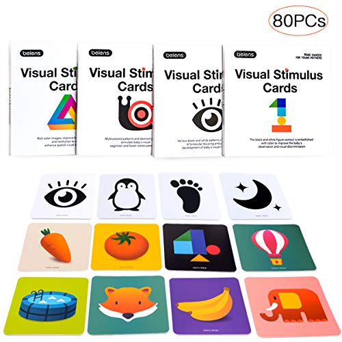 beiens High Contrast Baby Flashcard 80 PCs 160 Page Black White Colorful Visual Stimulation Learning Activity Card for Babies Ages 0-36 Months 55'' x 55'' Educational Newborn Infants Toys Gift