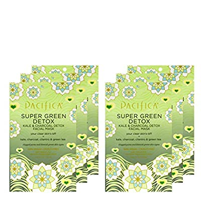 Pacifica Beauty Super Green Detox Kale & Charcoal Facial Sheet Mask, For All Skin Types, 6 Count from Pacifica