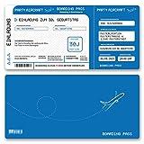 (10 x) Einladungskarten Geburtstag Flugticket Ticket Karte Einladungen in Blau