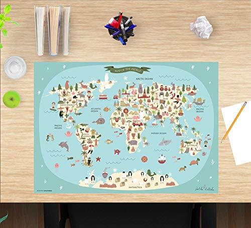 """Schreibtischunterlage Kinder – """"Weltkarte"""" – aus erstklassigem, strapazierfähigem Vinyl (Kunststoff) – 60 x 40 cm – Tischmatte mit bestem Schutz – Made in Germany"""