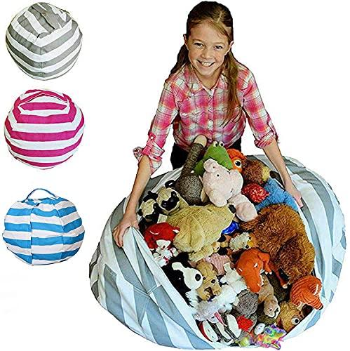 Kids Bean Bag Canvas Storage Bag Organizer Bag for Stuffed Animal Plush Toy...
