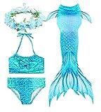 PaisDola Cola de Sirena para Niñas para Nadar Bikini de 3 Piezas y Diadema con Guirnaldas de Flores (DH06H,140)