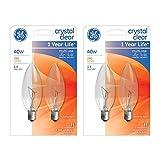 GE Lighting 75033 Crystal Clear Blunt Tip Candelabra Base Bulb, 40 watts, 2 bulbs per pack (2-Packs Total)