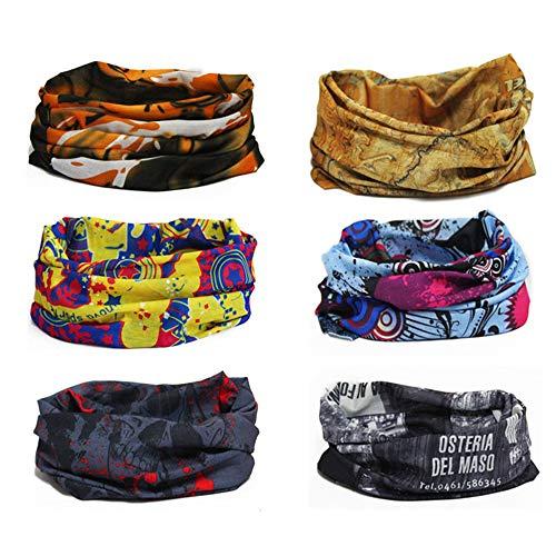 Finrezio 6PCS Seamless Bandanas Balaclavas Multifunctional Headband Scarf Headwrap Neckwarmer for Dust, Outdoors,Women's Novelty Bandanas for Sports,Music Festivals, Raves, Riding