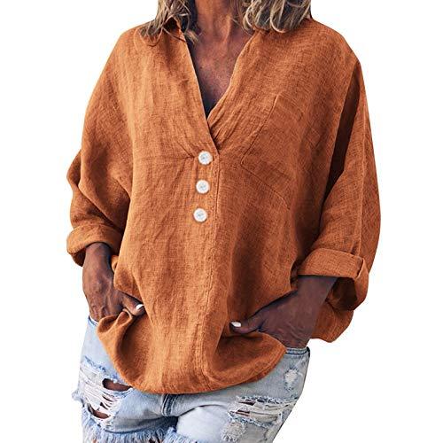 YANFANG Camiseta De Blusa con Botones Y Cuello En V Lino Informal SóLido Moda para Mujer Talla Grande,Camisas Originales,Camisa Leopardo Mujer,Camisa Estampada,Amarillo,L