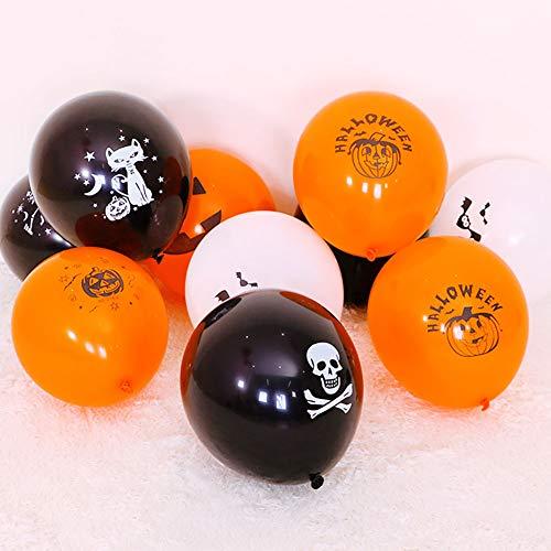 JKLKL 100 Stück Halloween-Druck Latex-Luftballons Mix and Match Farbkombination, KTV Mall Bar Shop Zu Hause,Package