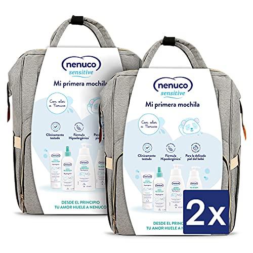 Nenuco Sensitive Set Higiene Bebé con mochila multiusos - Contiene agua de colonia, gel de baño, loción y crema para la zona del pañal - 4 productos x2