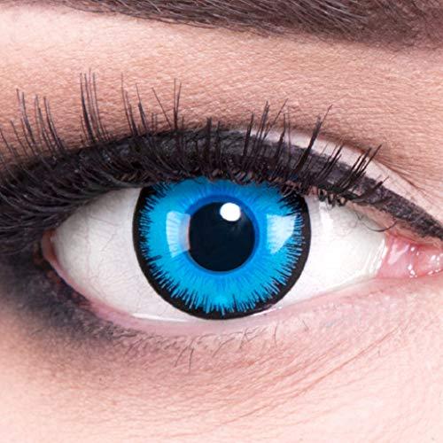 Funnylens 1 Paar farbige blaue schwarze Crazy Fun Alper Jahres Kontaktlinsen perfekt zu Halloween, Karneval, Fasching oder Fasnacht mit gratis Kontaktlinsenbehälter ohne Stärke!
