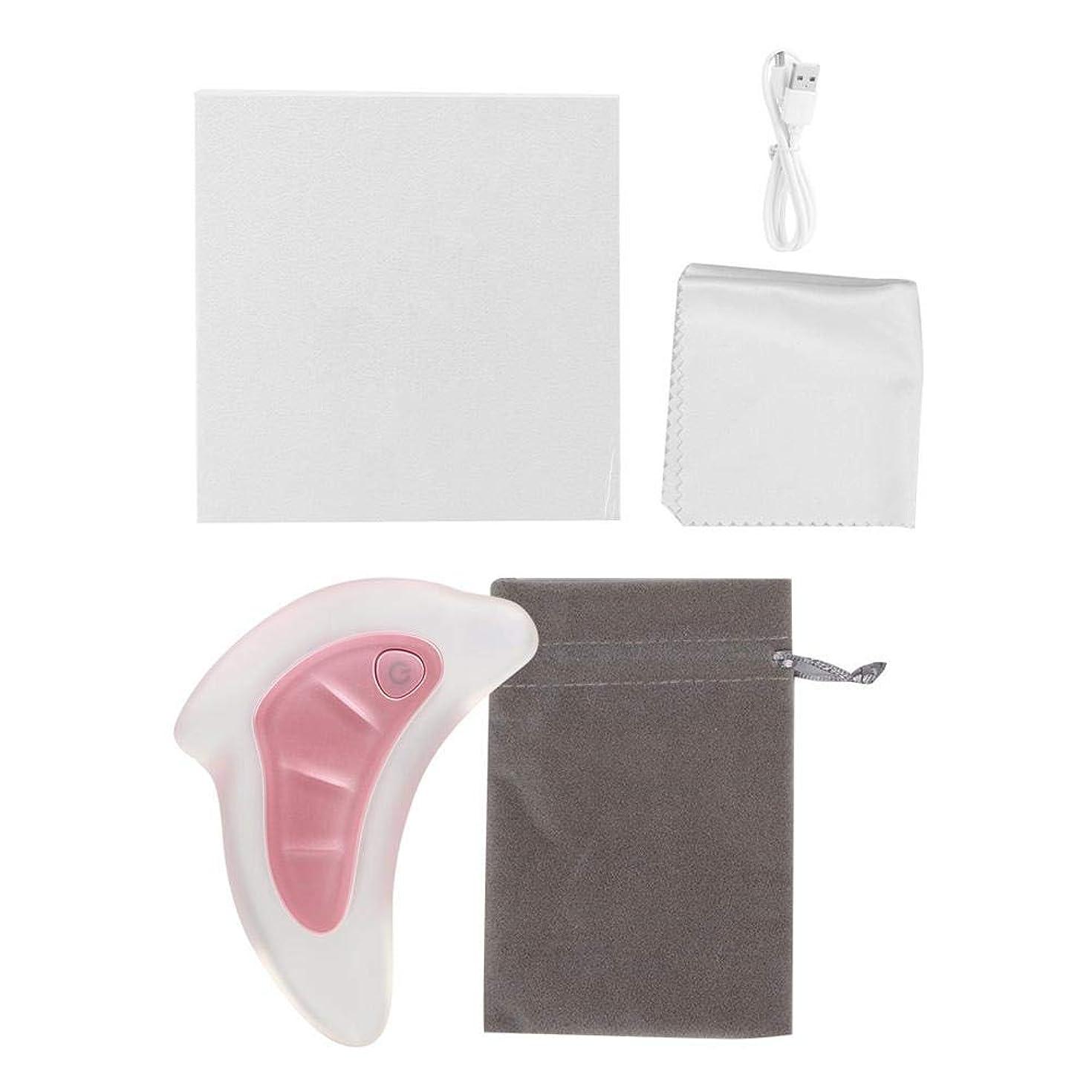 地下丁寧スーパー2色スクレーピングマッサージャー - フェイスリフティングスクレーパー、グアシャツール - アンチエイジング、アンチリンクルマッサージ&フェイシャルグアシャ、カラフルなライトを廃棄するための楽器(ピンク)