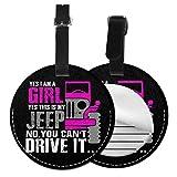 Kofferanhänger PU Leder Ja, das ist Mein Jeep Mädchen, Gepäckanhänger ID Etikett Mit Adressschild Namenschild für Reisetasche Koffer