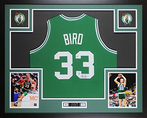 Larry Bird Autographed Green Boston Celtics Jersey - Beautifully Matted and Framed - Hand Signed By Larry Bird and Certified Authentic by Beckett - Includes Certificate of Authenticity