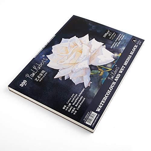 Paul Rubens-Grad-Aquarell-Papier-Pad säurefrei und 100% Baumwolle Heiß/kalt gepresstes Aquarell und nasse Medien-Auflage - 20 Blätter (7.6 x 10.6 inch-Coldpressed)