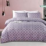 Chanyuan - Juego de ropa de cama geométrica (200 x 220 cm, hipoalergénico, 3 piezas, funda nórdica con diseño de rejilla, fundas de edredón ligeras con cremallera, microfibra suave