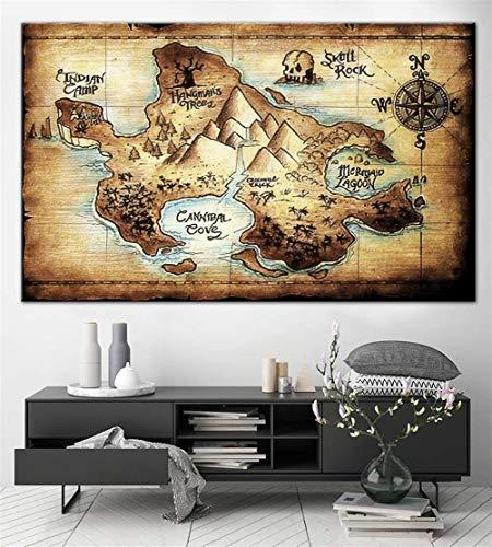 DYCUN Leinwand Wandkunst, Neverland Karte drucken Wall Art Multipanel Set-Leinwand-Druck-Ölgemälde Peter Pan Karte von Wand-Dekor-Druck-Karten-Plakat Leinwand-Gemälde (Size (Inch) : 50X75CM)