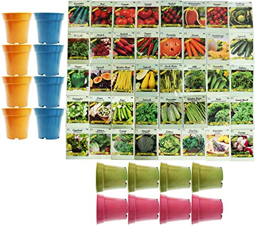 Set of 40 Assorted Vegetable & Herb Seeds with 16 Bamboo 3.5' x 3.75' Planters 40 Varieties Create a...