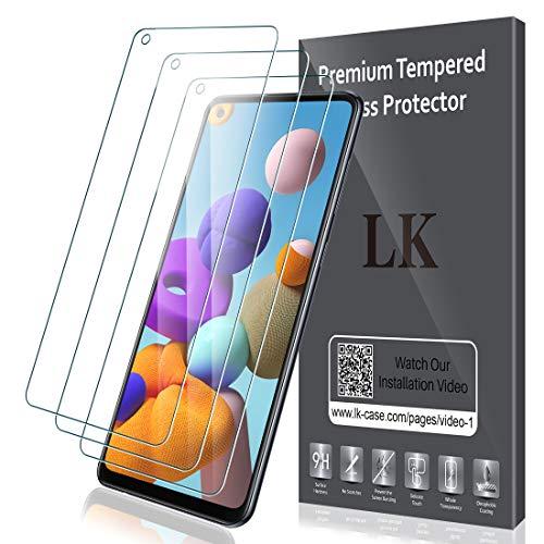 LK Schutzfolie für Samsung Galaxy A21S Panzerglas, 3 Stück, 9H Härte, HD Klar Displayschutzfolie, [Anti-Kratzen] [Blasenfrei]