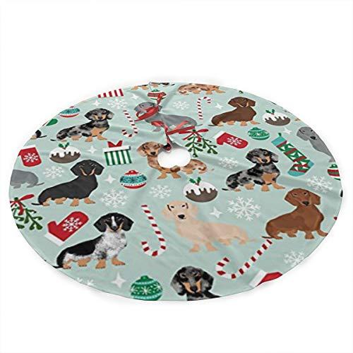 antkondnm Xmas Holiday Dog Dachshund Christmas Tree Skirt for Xmas Holiday Party Supplies Large Tree Mat Decor Ornaments 36 Inch