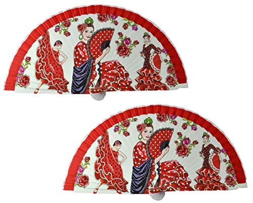 FN7 2 piezas Abanico flamenco español Ventiladores plegables Ventiladores de mano Ventiladores de bambú Ventilador de mano Ventilador de mano España Abanico de bailarines de flamenco