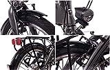 CHRISSON 20 Zoll E-Bike City Klapprad EF1 grau - E-Faltrad mit Bafang Nabenmotor 250W, 36V und 30 Nm, Pedelec Faltrad für Damen und Herren, praktisches Elektro Klappfahrrad, perfekt für die Stadt - 9
