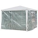 Seitenwände Pavillon 3x2m grün/weiß PE 2Stück 1xFenster Gartenzelt Seitenteile