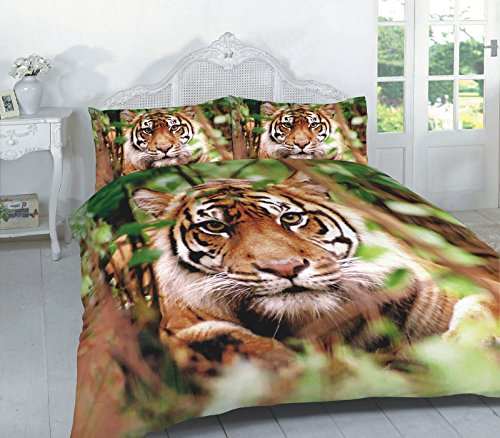 Animal Print Duvet Cover Set King Size Bed Kingsize 3D Animal Effect Quilt Bedding Sets with Pillow Cases Poly Cotton Luxury, Tiger Multi