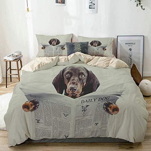 Funda nórdica beige, perro salchicha Dachshund leyendo una revista de periódico en el dormitorio en la cama, juego de cama de microfibra impresa de calidad de 3 piezas, diseño moderno con suavidad y c