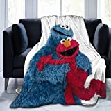 Snanna Sesame Street Elmo and Cookie Monster Ultra Soft Flannel Fleece Throws Blankets Stylish All Season Bedroom Living Room Super Warm Beach Blanket 60 X 50 Inch for Teens
