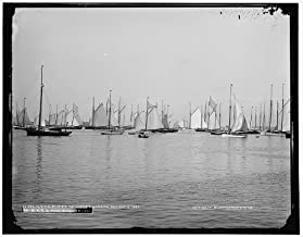 Photo: NYYC,New York Yacht Club,fleet,boats,ships,Newport harbor,Rhode Islands,RI,1887