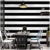 Blooming Wall Black White Wide Stripes Peel and Stick Wallpaper Wall Mural Wall Decor, (Black&White)