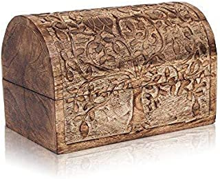 Birthday Gift Ideas Handmade Decorative Wooden Jewelry Box With Tree Of Life Carvings Jewelry Organizer Keepsake Box Treasure Chest Trinket Holder Lock Box Watch Box 9 x 6 Inch Anniversary Gifts Her
