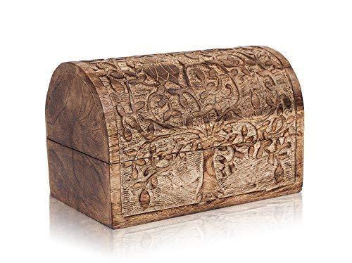 Joyero decorativo hecho a mano de madera con diseño de árbol de la vida, caja de recuerdos, caja de candado para el tesoro, caja de regalo de aniversario de cumpleaños de 22,86 x 15,24 cm