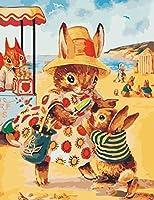 数字キットクラフトによるDiy油絵大人の子供のためのキャンバスクラフトの簡単さのDIYペイント初心者ウサギの母と子の漫画