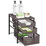 Simple Trending 3-Tier Under Sink Cabinet Organizer with Sliding Storage Drawer, Desktop Organizer for Kitchen Bathroom Office, Stackbale, Bronze