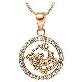 Onefeart Oro de Rose Plateado Colgante Collar Mujeres Blanco Cristal 12 Constelaciones Acuario 45CMx28X18MM