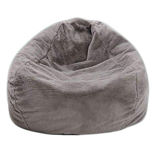Handmade Rabbit Fur Warm Lounger Seat Bean Bag Cover Soft Beanbag Chair for Indoor Ourdoor Adults and Kids (XL 100 x120cm, 39.4x47.2 in), Without Filling Gray