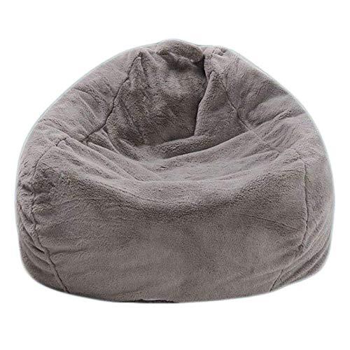 Klassischer Sitzsack aus Kunstpelz, Bean Bag Sitzkissen Bodenkissen Hocker Kinder Sitzsäcke Möbel Kissen Sessel Sofa (nur Bezug),Grau